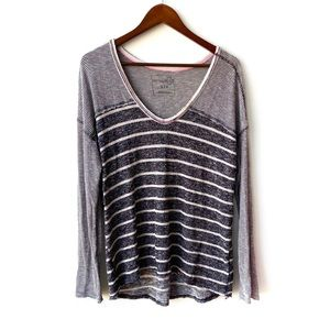 Free People Contrasting Stripe V Neck Pullover
